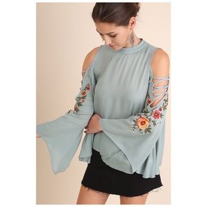 Tops - Embroidered Cold Shoulder Blouse in Dusty Blue
